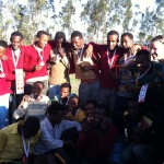 A group picture is taken of all the medal winners of the Harbu Chulule sports day