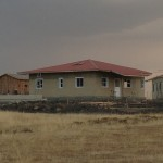 The first children's home is almost completed and shows the solar panel for the lighting on the roof.