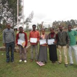 Hopethiopia director Zerihun and some teachers stand with winners of the 2013 Awards of Hope