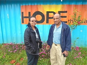Melaku and Selam spend some time onsite at the Hopethiopia north project site.