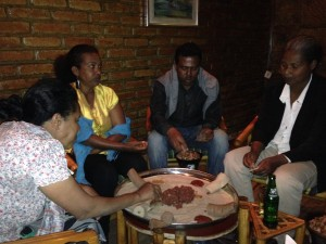 The team at SIM join us at a local traditional Ethiopian restaurant in Addis Ababa