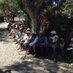Patients lined up for education and eye care